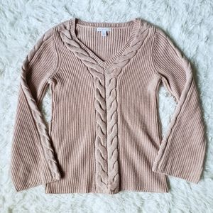 Westport 1962 pink v-neck with bell sleeve sweater